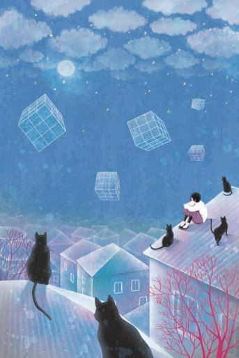 moon, cat, boy, houses, square