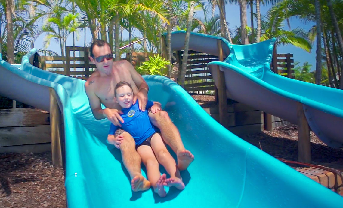 Two water slides and three pools