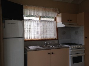Inside the cabins at the Blue Dolphin caravan park in Yamba