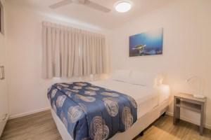 One of the bedrooms from the 3 bedroom villas at the Blue Dolphin resort in Yamba