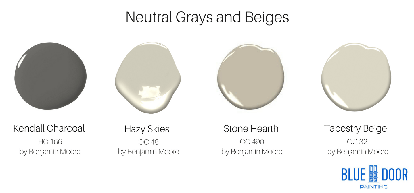Kendall Charcoal HC 166 Benjamin Moore, Hazy Skies OC 48, Stone Hearth CC 490, Tapestry Beige OC 32
