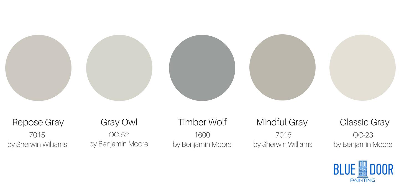 Top Interior Grays Greys Repose Gray SW 7015, Gray Owl OC-52 Benjamin Moore, Timber Wolf 1600, Mindful Gray 7016 Sherwin Williams, Classic Gray OC-23 Benjmain Moore Blue Door Painting