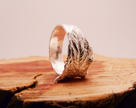 Blue Dot Jewelry Custom Silver Leaf Ring standing