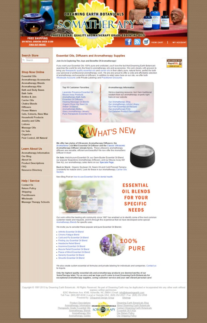 Web Site Design for Dreaming Earth Botanicals