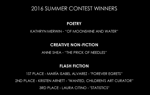 Blue Earth Review 2016 Summer Contest Winners