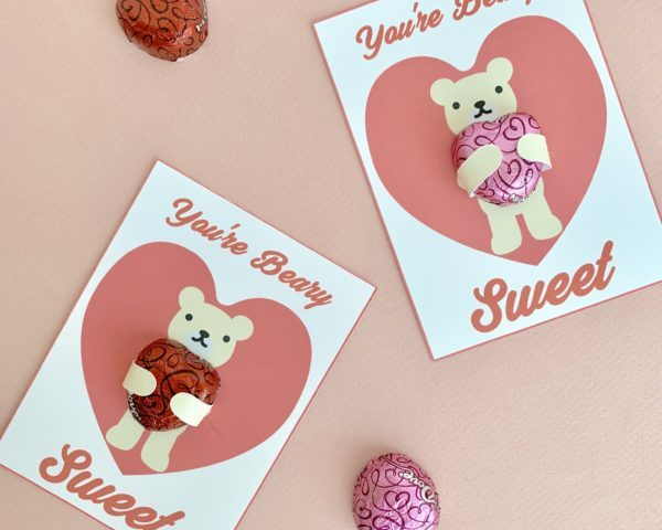 Dove Chocolate Hearts Teddy Bear Hugs Valentine's Free Printable