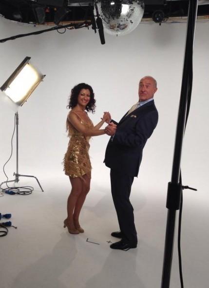 Strictly Dancer with Len Goodman on TV set