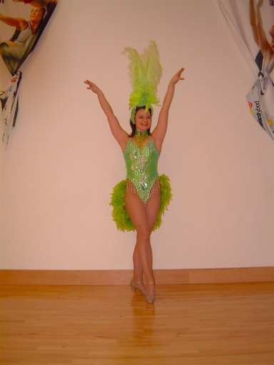 Green costumed showgirl