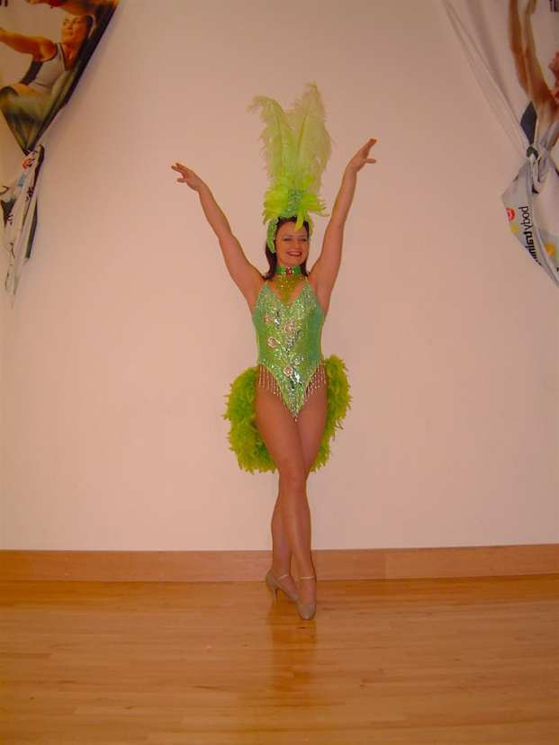 Green costumed showgirl