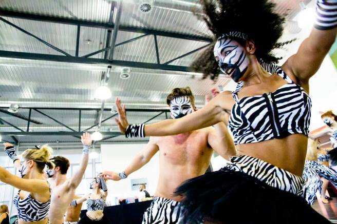 Zebra themed dancers on stage