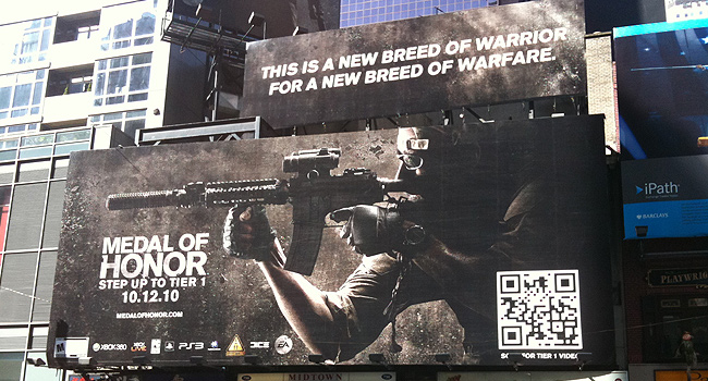 QR Codes used on Medal of Honor Billboard