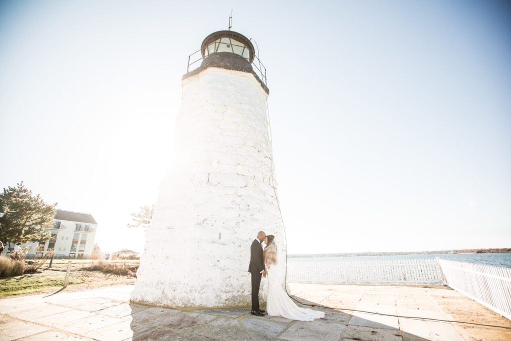 Andrea and Baraka   First Look Session at Gurney's Newport   Blueflash Photography