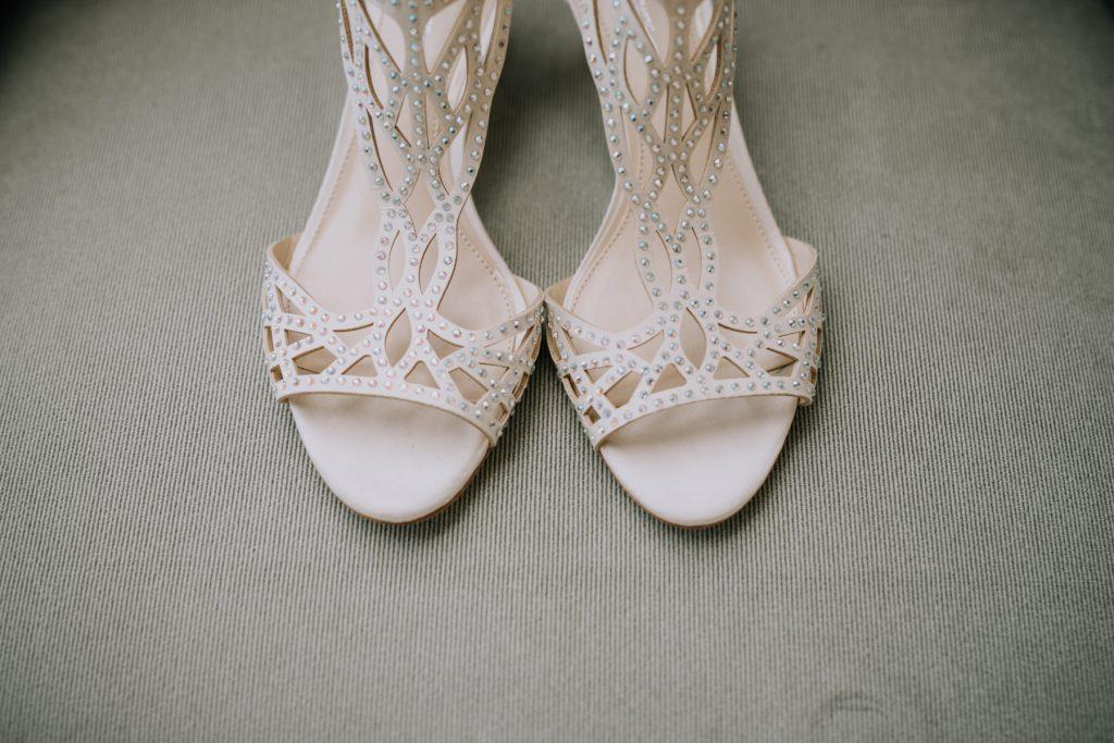 Sasha and Michael | Bride's white rhinestone heels