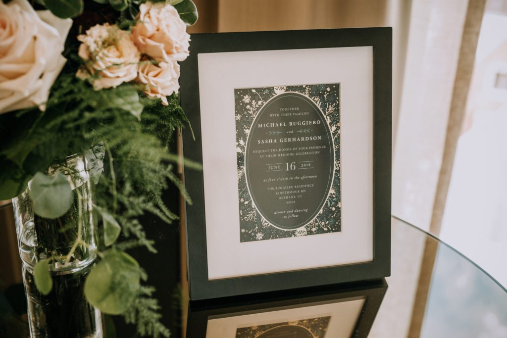 Sasha and Michael } Framed wedding invitation in deep green and floral print