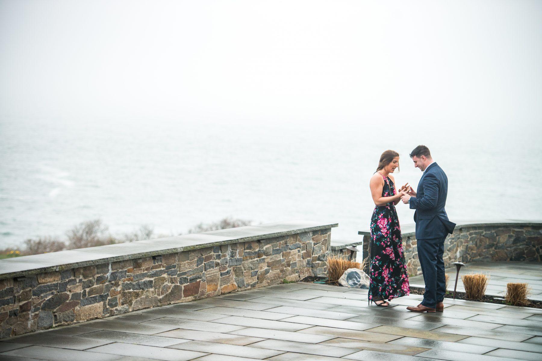 Zoe and Stephen Castle Hill Inn Newport Proposal Blueflash Photography 8