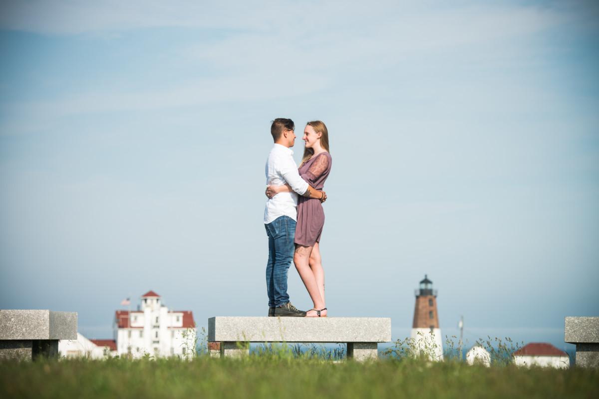 Heather and Mark | Point Judith Lighthouse Engagement | Blueflash