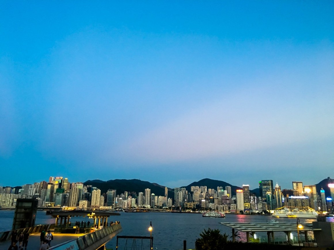 Victoria Harbour as the sun is setting