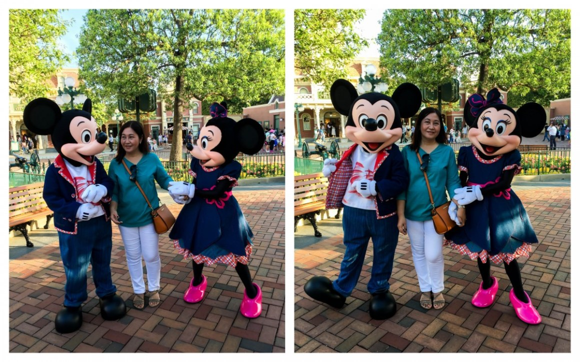 Mom posing with Mickey and Minnie