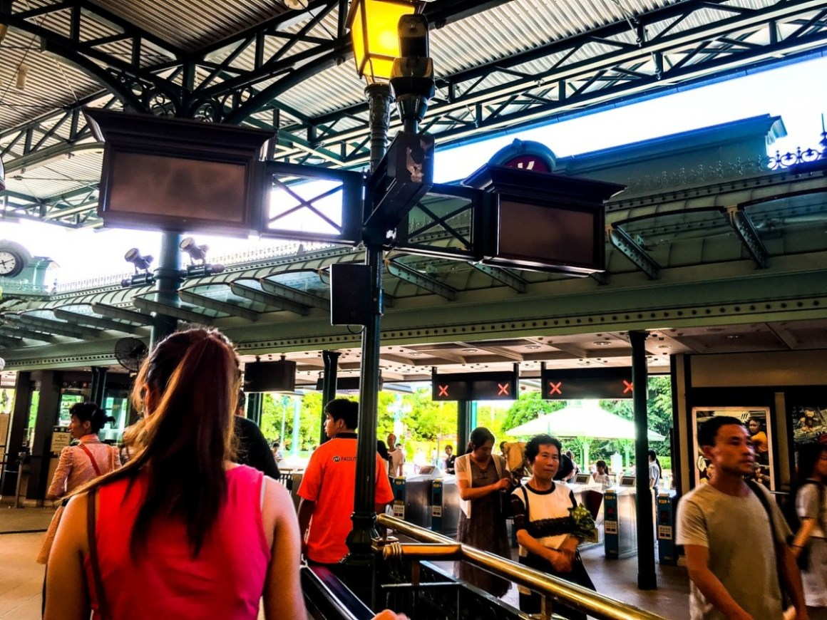 Hong Kong Disneyland turnstiles and ticket station