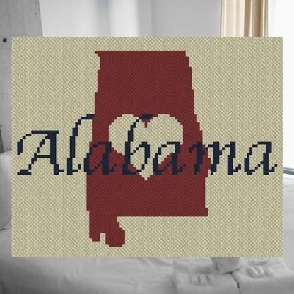 Heart Alabama C2C Afghan Crochet Pattern Corner to Corner Cross Stitch Graphghan Blue Frog Creek