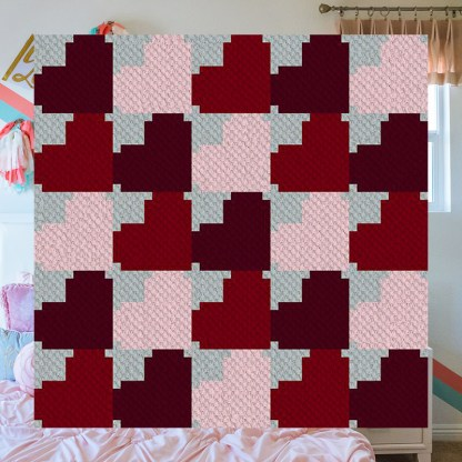 hearts aplenty c2c corner to corner crochet pattern