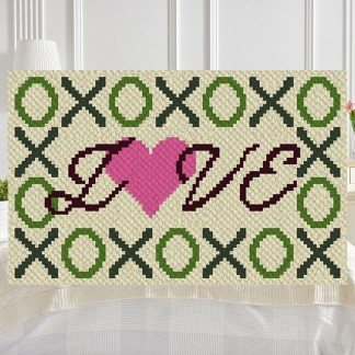 hugs kisses love C2C corner to corner crochet