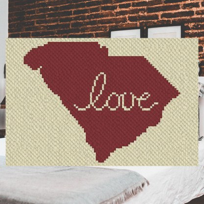 South Carolina Love C2C Crochet Pattern Corner to Corner
