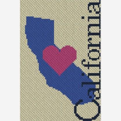Heart California C2C Corner to Corner Crochet Pattern