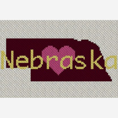 Heart Nebraska C2C Corner to Corner Crochet Pattern