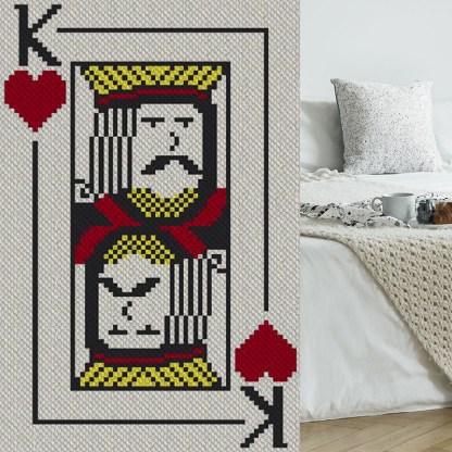 King of Hearts C2C Afghan Crochet Pattern Corner to Corner Gaphghan Cross Stitch Blue Frog Creek