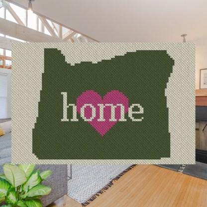 Oregon Home C2C Afghan Crochet Pattern Corner to Corner Crochet Blanket Graphghan Cross Stitch Blue Frog Creek