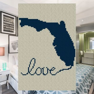 Florida Love C2C Afghan Crochet Pattern Corner to Corner Blanket Pattern Graphghan Cross Stitch Blue Frog Creek