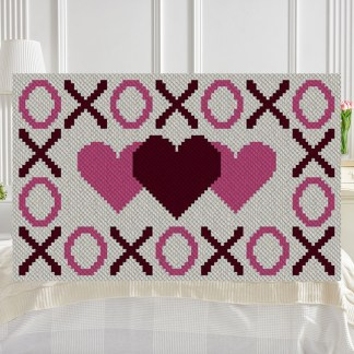 Hugs Kisses and Hearts C2C Afghan Crochet Pattern Graphghan Cross-stitch Blue Frog Creek