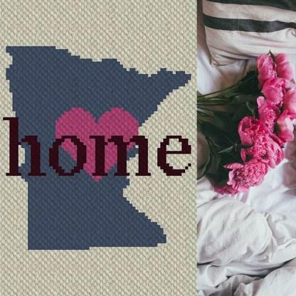 Minnesota Home C2C Corner to Corner Crochet Pattern