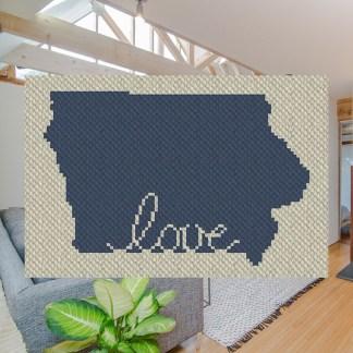 Iowa Love C2C Afghan Crochet Pattern for Corner to Corner Blanket