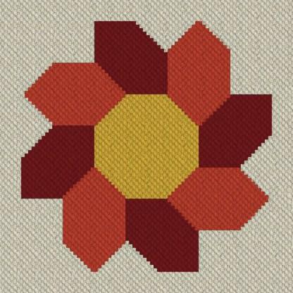 Septembers Sunflower C2C Crochet Pattern for Corner to Corner Afghan