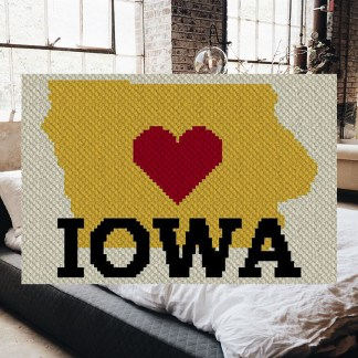 Heart Iowa C2C Afghan Crochet Pattern for Corner to Corner Crochet or Graphghan