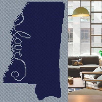 Love Mississippi C2C Corner to Corner Afghan Crochet Pattern Cross Stitch Pattern