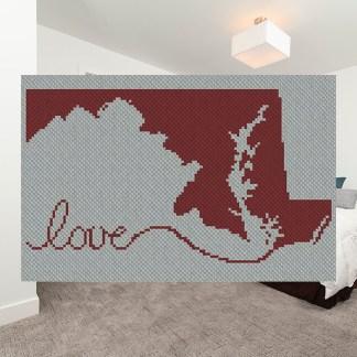 Maryland Love C2C Crochet Pattern Corner to 2 Corner Afghan Blanket 800B