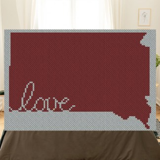 South Dakota Love C2C Afghan Crochet Pattern Corner to Corner Cross Stitch graphghan Blue Frog Creek