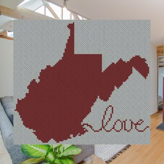 West Virginia Afghan C2C Crochet Pattern for Corner to Corner or Graphghan Blue Frog Creek