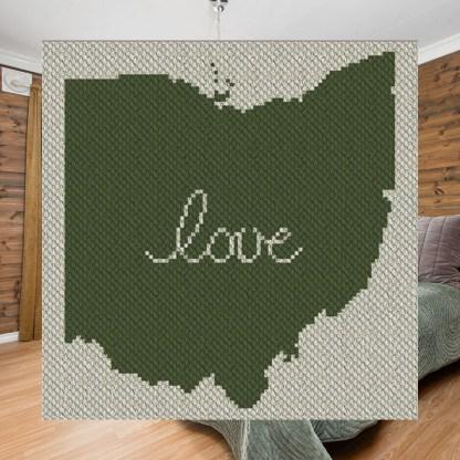 Ohio Love C2C Afghan Crochet Pattern Corner to Corner Graphghan Blue Frog Creek