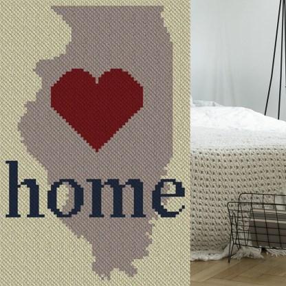 Illinois Home C2C Afghan Crochet Pattern Corner to Corner Graphghan Blue Frog Creek