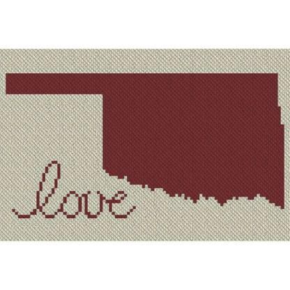 Oklahoma Love C2C Afghan Crochet Pattern Corner to Corner Blanket Blue Frog Creek