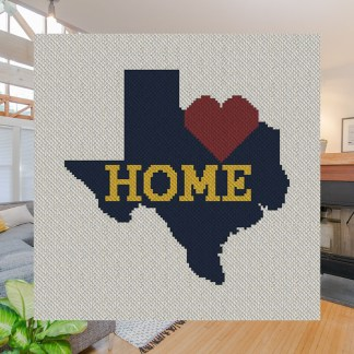 Greater Texas Home C2C Afghan Crochet Pattern Corner to Corner Crochet Stitch Graphghan Cross Stitch Blue Frog Creek 800C