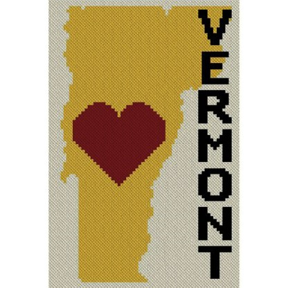 Heart Vermont C2C Crochet Pattern Corner to Corner Graphghan Cross Stitch Blue Frog Creek