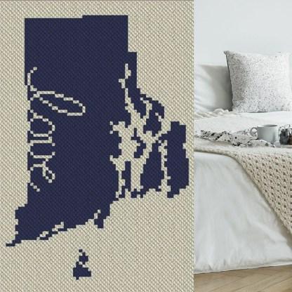 Rhode Island Love C2C Afghan Crochet Pattern Corner to Corner Blanket Graphghan CrossStitch Blue Frog Creek