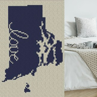 Rhode Island Love C2C Afghan Crochet Pattern Corner to Corner Blanket Graphghan CrossStitch Blue Frog Creek