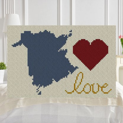 New Brunswick Love C2C Afghan Crochet Pattern Corner to Corner Graphghan Cross Stitch Blue Frog Creek