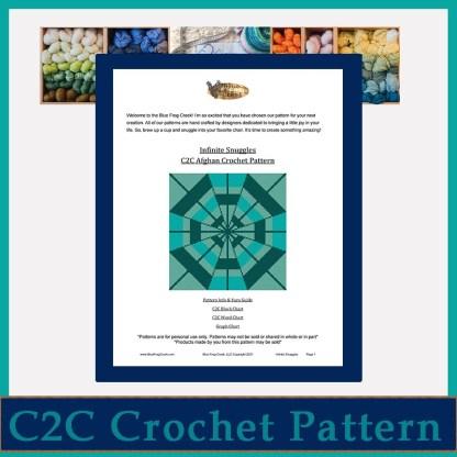 Infinite Snuggles C2C Afghan Crochet Pattern Corner to Corner Graphghan Cross Stitch Blue Frog Creek